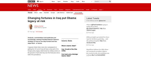 Página de la BBC, bien estructurada